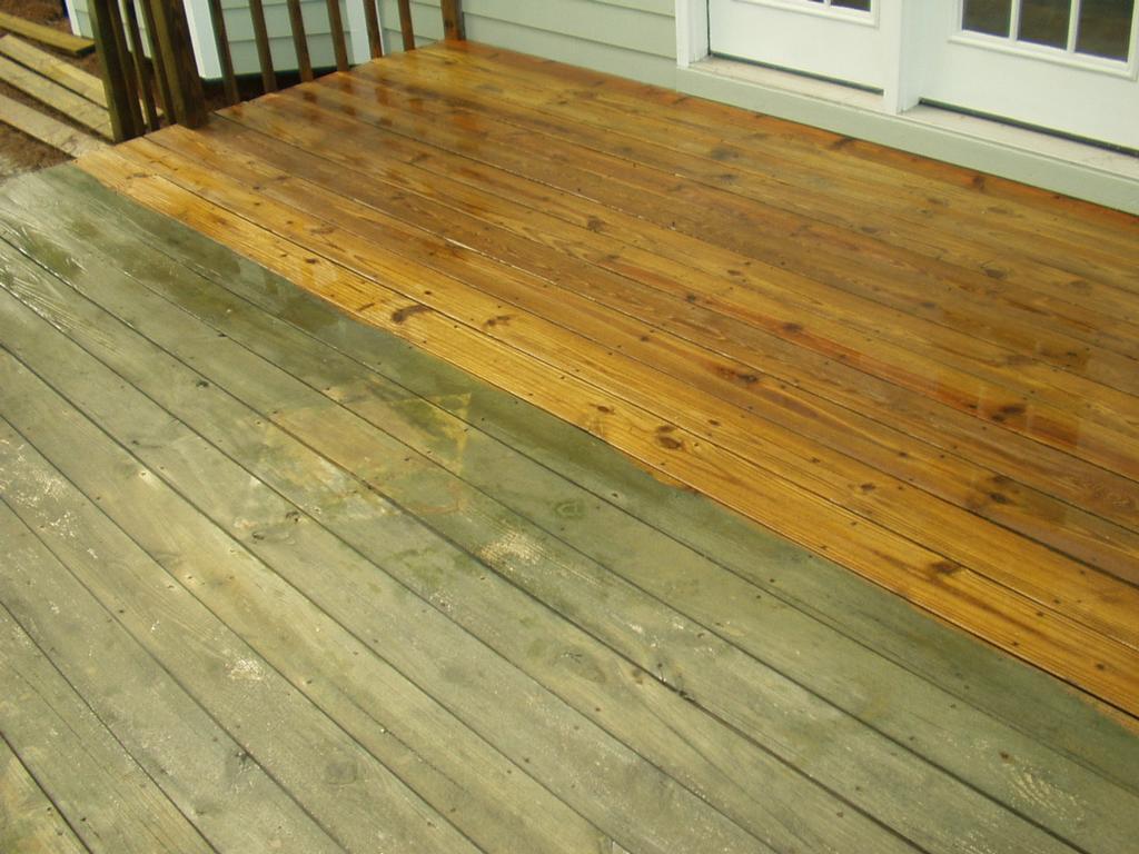 Deck Half Cleaned Full Pressure Washing